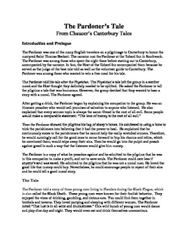 Chaucer's The Pardoner's Tale: Adaptation With Activities