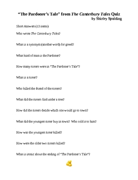 """""""The Pardoner's Tale"""" from The Canterbury Tales Quiz"""