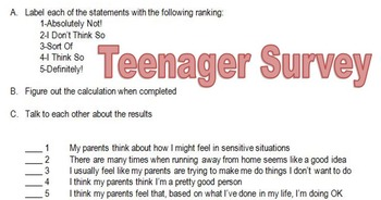 Teenagers - The Parent /Teenager Relationship Assessment