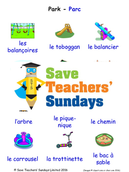 The Park in French Worksheets, Games, Activities and Flash Cards