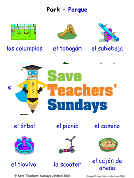 The Park in Spanish Worksheets, Games, Activities and Flash Cards
