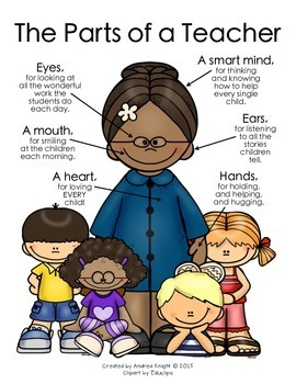 The Parts of a Teacher Poster  {Deeper Skin Tones}