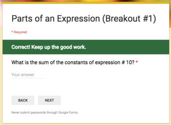 The Parts of an Expression – Two Breakout Activities!