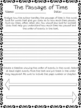 The Passage of Time - Order of Events Novel Analysis Worksheet