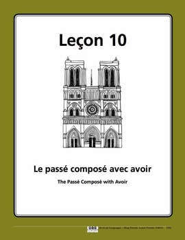 French Passé Composé with Avoir Song and Writing Activities