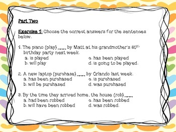 The Passive Voice Exercises (Tense Forms) with Answer Keys