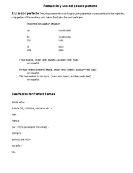 The Past Perfect/Pasado Perfecto o Pluscuamperfecto Intro Rules/Notes Page
