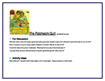 The Patchwork Quilt for Literature Circles