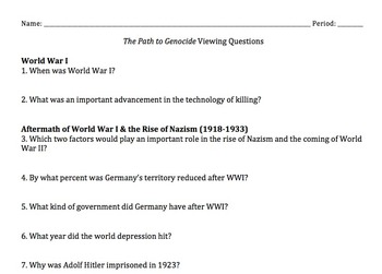 The Path to Nazi Genocide Video Questions