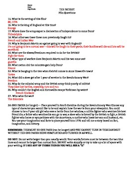 The Patriot Film Guide, One Pager, and Answer Key