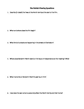 The Patriot Movie Viewing Questions