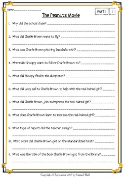 The Peanuts Movie - Movie Guide + Activities - Answer Key Included