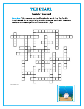 The Pearl: 25 Words to Know Crossword—Companion Product to Bookmarks Plus!