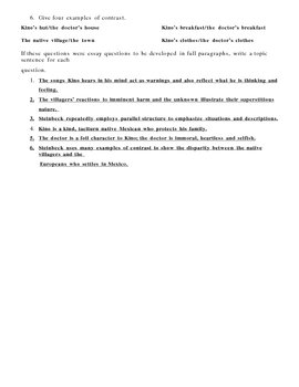 The Pearl Chapter 1 Discussion questions and answer key
