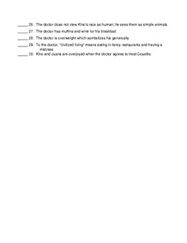 The Pearl Chapter 1 T/F Quiz and KEY