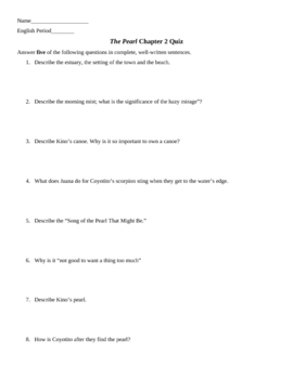 The Pearl Chapter 2 Short Essay Quiz and KEY