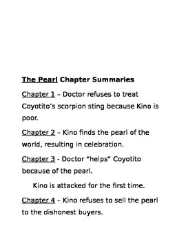 The Pearl Chapter Quizzes and Summaries