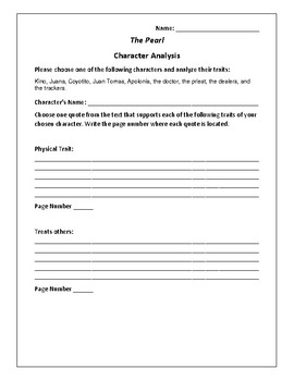 The Pearl - Character Analysis Activity - John Steinbeck