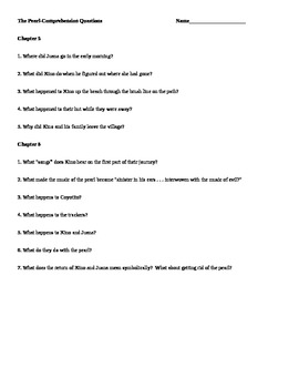 The Pearl Comprehension Questions--All Chapters, College Prep