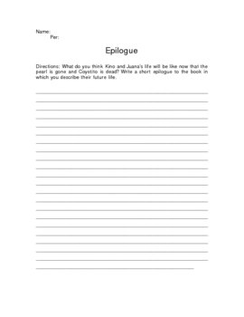 The Pearl Epilogue Writing Assignment