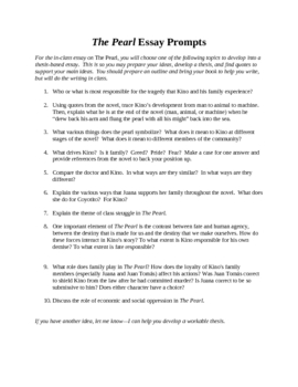 The Pearl In Class Essay Assignment- with prompts, rubric, essay tips.