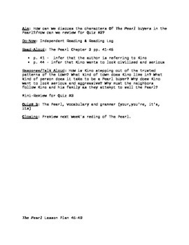 The Pearl Lesson Plan pgs. 30-36