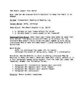 The Pearl Lesson Plan pgs. 54-57