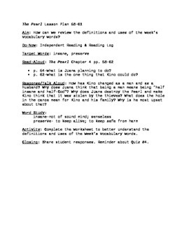 The Pearl Lesson Plan pgs. 58-62