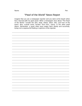 "The Pearl ""Pearl of the World"" News Report Writing Assignment"