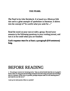 """""""The Pearl"""" Reading Group questions"""
