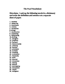 The Pearl Vocabulary Handout