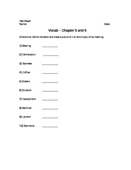 The Pearl Vocabulary Worksheets and Quizzes