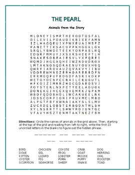 The Pearl: Word Search—25 Animals from the Story w/Hidden Message