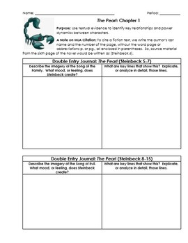 The Pearl Worksheets with Double-Entry Journals and Essay Organizer