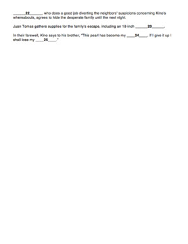 the pearl by john steinbeck chapter 5 quiz with answer key by