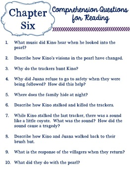 The Pearl by John Steinbeck -- Chapter Questions Worksheets & Bookmarks!