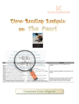 The Pearl by John Steinbeck Close Reading Lesson Unit