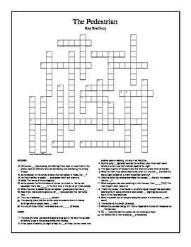The Pedestrian by Ray Bradbury Crossword Puzzle