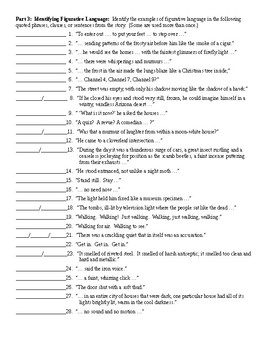The Pedestrian by Ray Bradbury Figurative Language Worksheet and KEY
