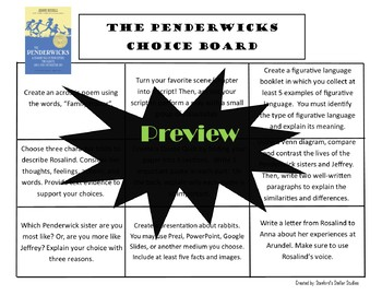 The Penderwicks Choice Board Novel Study Activities Menu Book Project Rubric