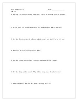 """The Penderwicks"", a set of Comprehension Questions"
