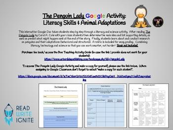 The Penguin Lady Google Activity: Literacy Skills & Animal Adaptations