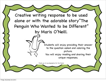 """The Penguin Who Wanted to be Different"" Writing Prompt"