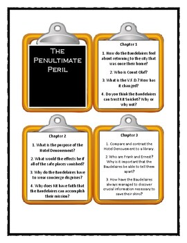 Series of Unfortunate Events THE PENULTIMATE PERIL - Discussion Cards