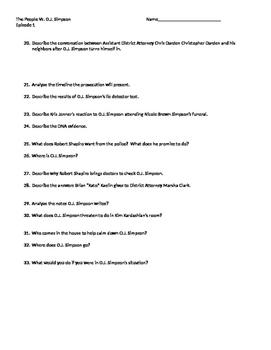 Worksheet for American Crime The People Vs. O.J. Simpson Episode 1