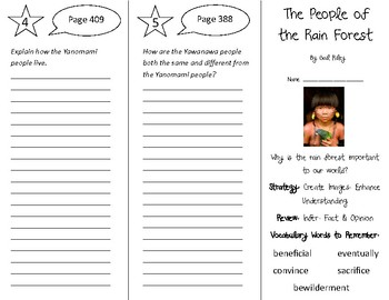 The People of the Rain Forest Trifold - 4th Grade Literacy by Design Theme 12