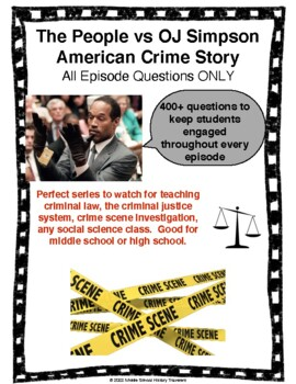 The People vs OJ Simpson American Crime Story All Episodes with Questions Bundle