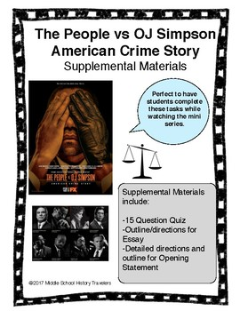 The People vs OJ Simpson American Crime Story Supplemental Materials Bundle
