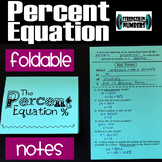 The Percent Equation Foldable Notes Interactive Notebook