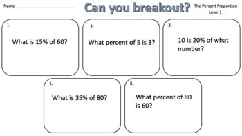 The Percent Proportion – Two Breakout Activities!